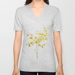 yellow Oncidium Orchid watercolor Unisex V-Neck