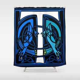 Celtic Peacocks Letter T Shower Curtain