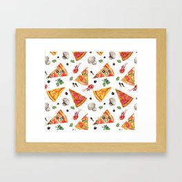 Pizza Pattern, Food Pattern, Watercolor Pizza Framed Art Print