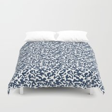 navy coral pattern Duvet Cover