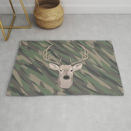 Beautiful buck dear head with big antlers Rug