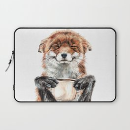 """ Morning fox "" Red fox with her morning coffee Laptop Sleeve"