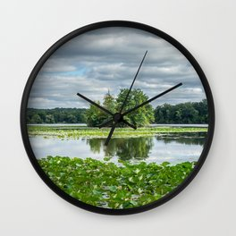 reflections in the lake in Kensington park Wall Clock