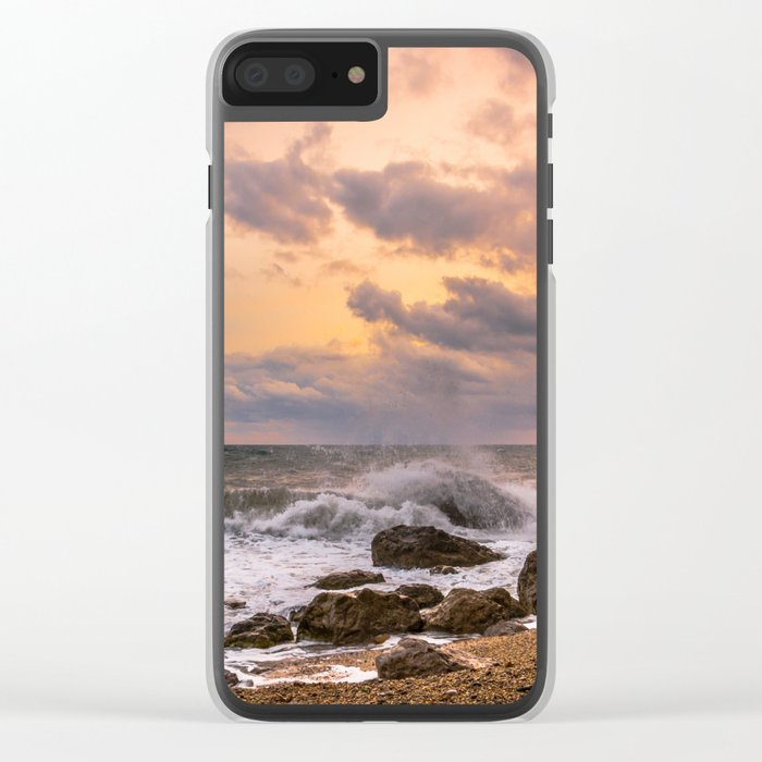 Sunset at sea Clear iPhone Case