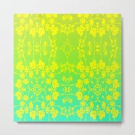 floral flower leaf yellow blue Metal Print