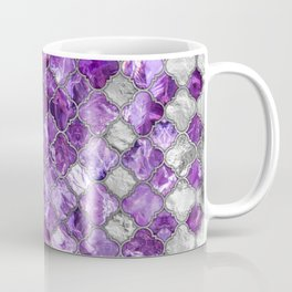 Quatrefoil Moroccan Pattern Amethyst and silver Coffee Mug