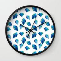 diamonds Wall Clocks featuring diamonds by Sil Elorduy