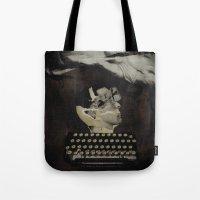 typewriter Tote Bags featuring Typewriter by Tom Melsen