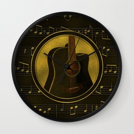 Golden  Acoustic Guitar on notes pattern Wall Clock