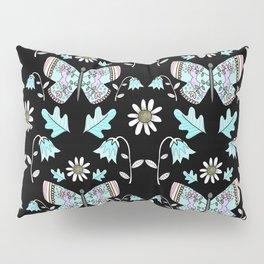 Summer Butterfly Pattern - Folk Style on Black Pillow Sham