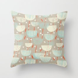 Botanical Block Print M+M Latte by Friztin Throw Pillow
