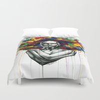 afro Duvet Covers featuring Afro mess by Psyca