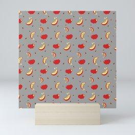 Apples on grey - repeating all-over print  Mini Art Print