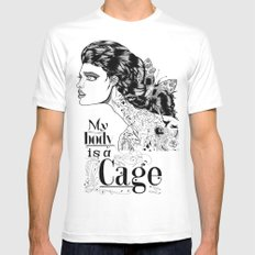My body is a cage White MEDIUM Mens Fitted Tee
