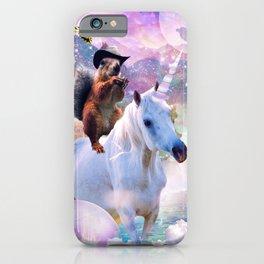 Cowboy Squirrel Riding Unicorn iPhone Case