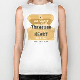 """""""Where Your Treasure Is"""" Hand-lettered Bible Verse Biker Tank"""