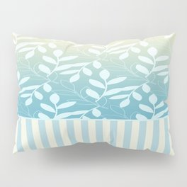 Blue Plume Leaves and Stripes Pillow Sham