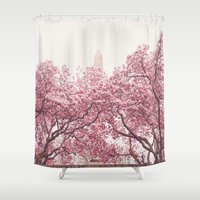 central park Shower Curtains featuring Central Park - Cherry Blossoms by Vivienne Gucwa