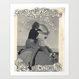 vintage image, handmade collage Art Print