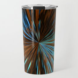 psychedelic splash painting abstract pattern in brown and blue Travel Mug