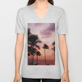 Palm Tree Sunset Unisex V-Neck