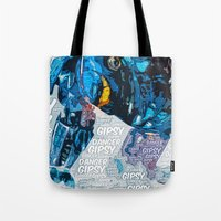 pacific rim Tote Bags featuring Pacific Rim: Gipsy Danger by Bolin Cradley Art