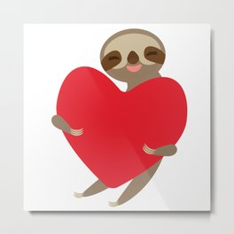 Funny sloth with a red heart Metal Print