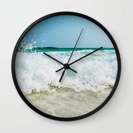 Waves CRashing on the beach Wall Clock
