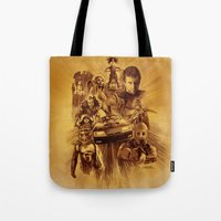 mad max Tote Bags featuring Homage to Mad Max by Giorgio Finamore