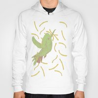 french fries Hoodies featuring Bird eat French fries by pexkung