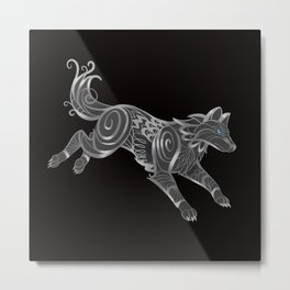 Shimmering Silver Ghost Wolf Metal Print
