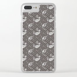 Black Chrysanthemum Auspicious Sayagata Japanese Kimono Pattern Clear iPhone Case