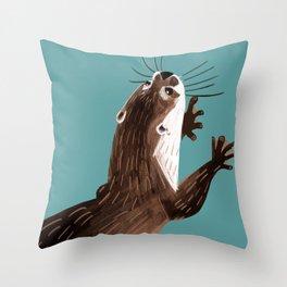 Asian small-clawed otter Cadet blue Throw Pillow