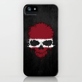 Flag of Latvia on a Chaotic Splatter Skull iPhone Case