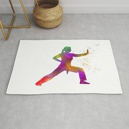 Woman practices karate in watercolor 02 Rug