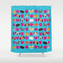 Cat Loves Dog Shower Curtain