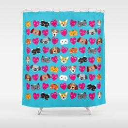 Cat Loves Dog Loves Cat Shower Curtain