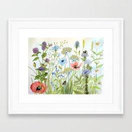 Floral Watercolor Botanical Cottage Garden Flowers Bees Nature Art Framed Art Print