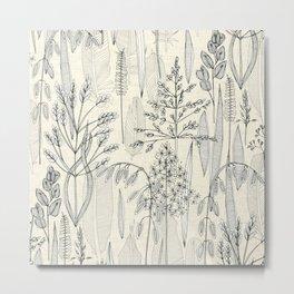 meadow feathers pearl Metal Print