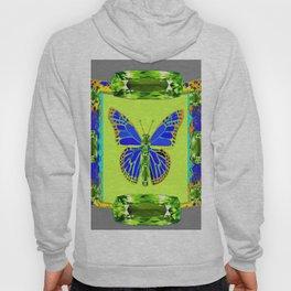 BLUE & GREEN  BUTTERFLY PERIDOT GEMMED GEOMETRIC Hoody