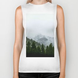 Misty Pine Forest Snow Capped Mountains Biker Tank