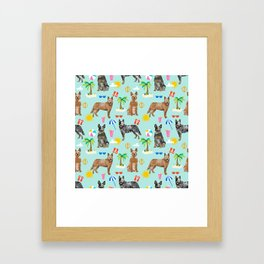 Australian Cattle Dog beach tropical pet friendly dog breed dog pattern art Framed Art Print