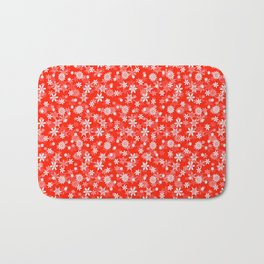 Festive Fiesta Red and White Christmas Holiday Snowflakes Bath Mat