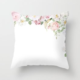 Vintage & Shabby Chic - Blush Antique Roses Frame Throw Pillow