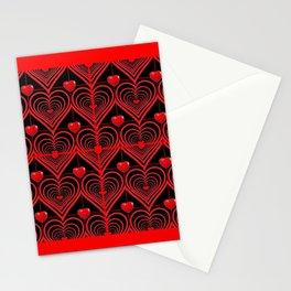 RED & BLACK 0PTICAL ART  RED VALENTINES DESIGN Stationery Cards