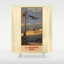 Italian vintage plane travel Brindisi Athens Istanbul Shower Curtain