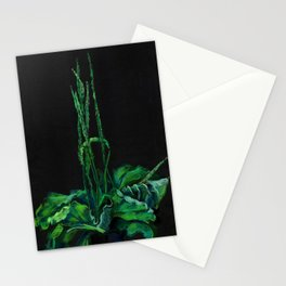 Plantain, green & black Stationery Cards