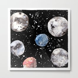 Many Moons - Watercolor - Planets - Solar System - Galaxy - Universe - Cosmic - Outerspace Metal Print