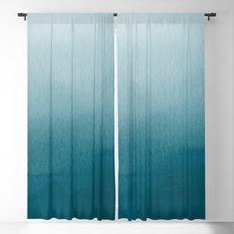 Tropical Dark Teal Inspired by Sherwin Williams 2020 Trending Color Oceanside SW6496 Watercolor Ombre Gradient Blend Abstract Art Blackout Curtain