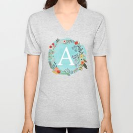 Personalized Monogram Initial Letter A Blue Watercolor Flower Wreath Artwork Unisex V-Neck